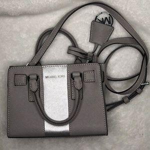 Center Metallic Stripe Mini Dillon Handbag Grey